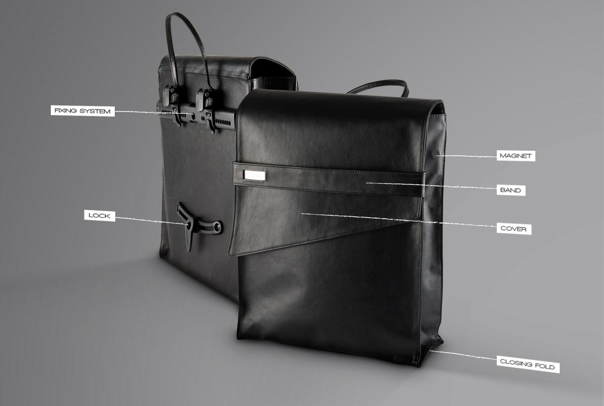 borsa per bicicletta elettrica in pelle