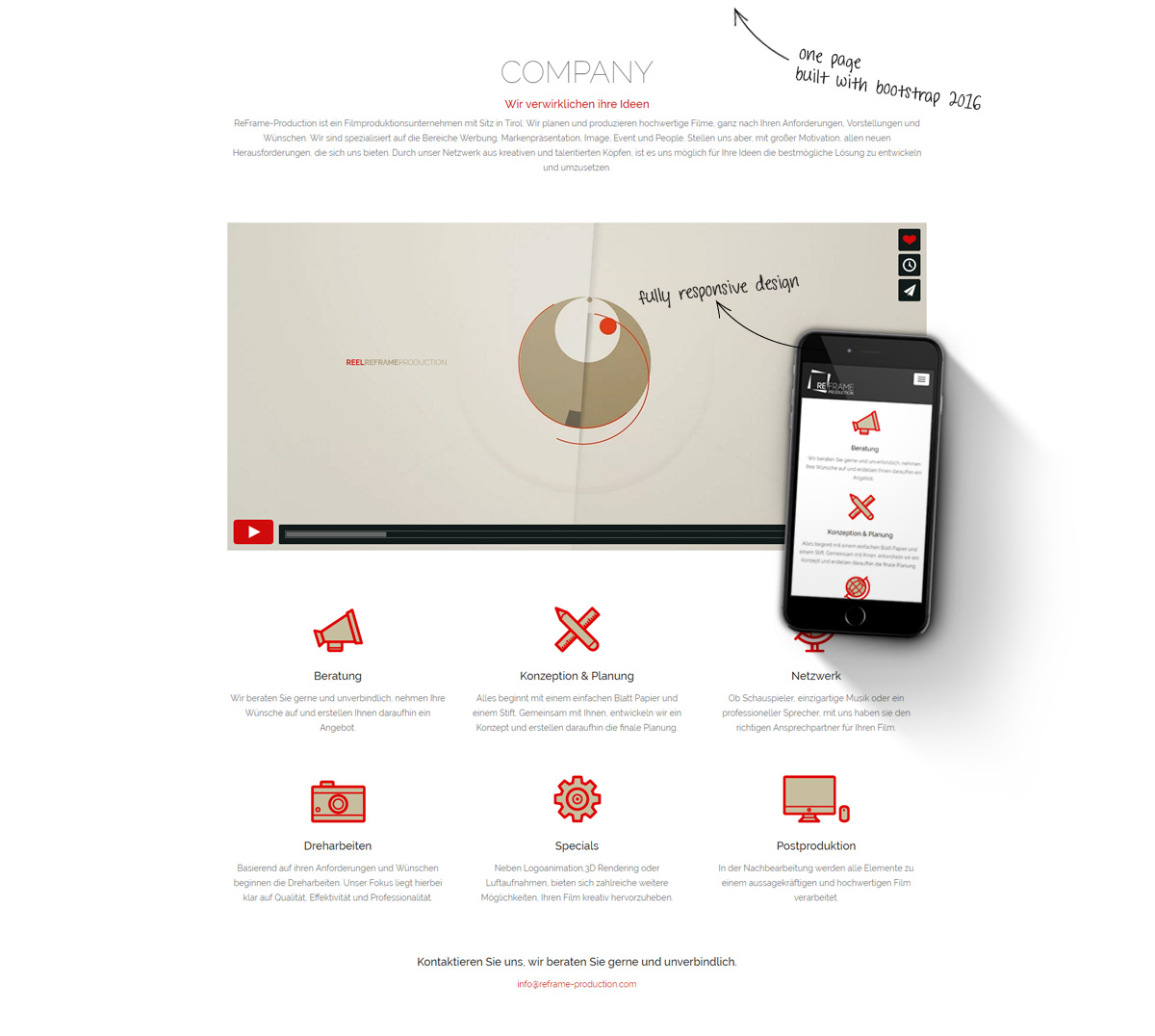 landing page reframe production film